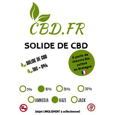 Etiquette de votre emballage de votre SOLIDE CBD 10% Terpène Haze